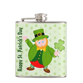 A St. Patrick's Day leprechaun holding a shamrock, Hip Flask