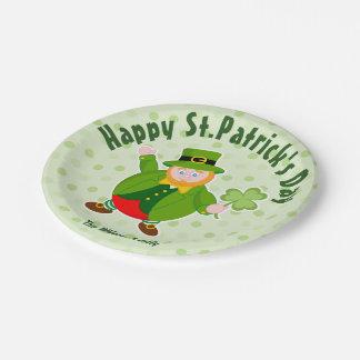 A St. Patrick's Day leprechaun holding a shamrock, Paper Plate