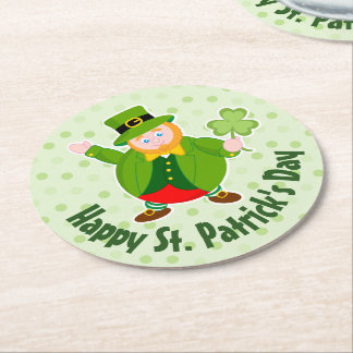 A St. Patrick's Day leprechaun holding a shamrock, Round Paper Coaster
