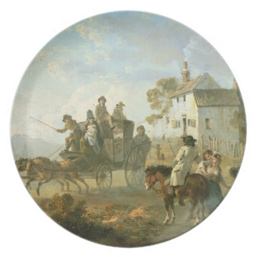 A Stage Coach on a Country Road, 1792 (oil on pane Party Plate