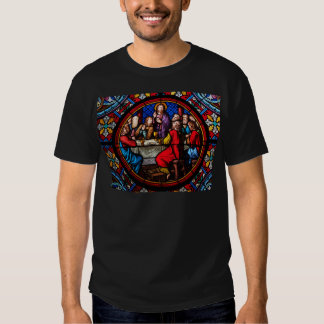 A stained glass image of the last supper tshirt
