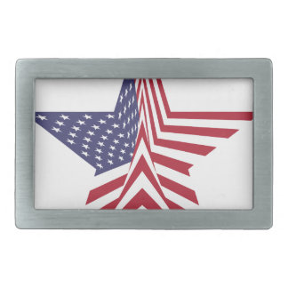 A Star With An American Flag Pattern Belt Buckle