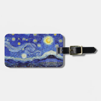 A Starry Night Van Gogh Luggage Tag leather