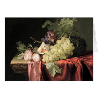 A still life with grapes, plums card