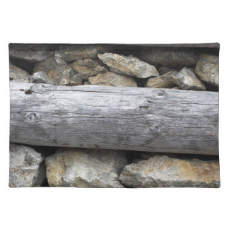 A stone wood construction place mat