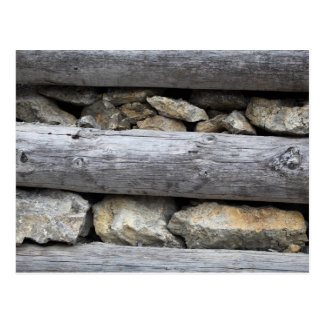 A stone wood construction postcard