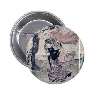 A storm of petals by Utagawa Toyokuni Ukiyoe Pinback Buttons