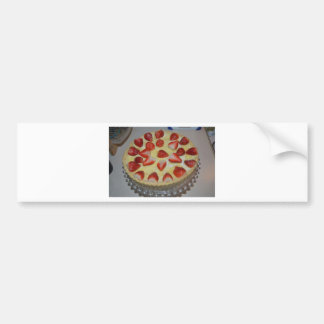 A strawberry cake bumper sticker