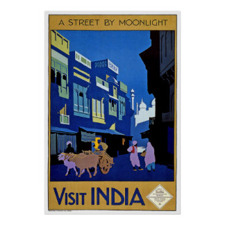 """A Street by Moonlight"" Vintage Travel Poster"