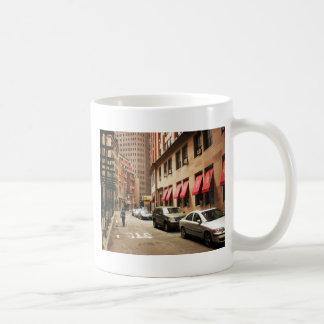 A Street Scene in the Financial District Basic White Mug
