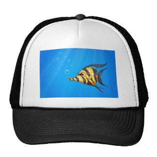 A striped colored fish under the sea cap