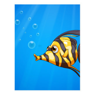 A striped colored fish under the sea postcard