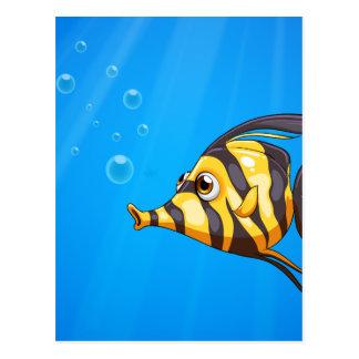 A striped colored fish under the sea postcard