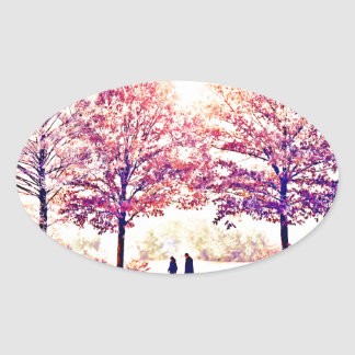 A stroll in the woods oval sticker