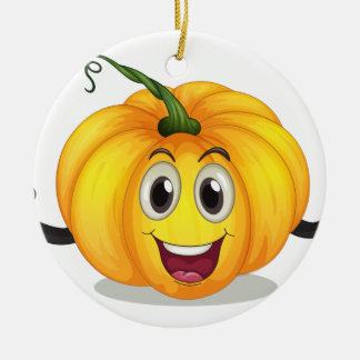 A strong squash with a smiling face round ceramic ornament