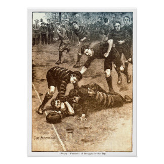 A Struggle For The Try - Vintage Rugby Print