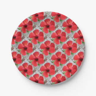 A Stunning Scarlet Hibiscus Tropical Flower Paper Plate