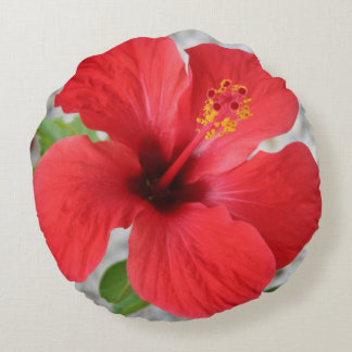 A Stunning Scarlet Hibiscus Tropical Flower Round Cushion
