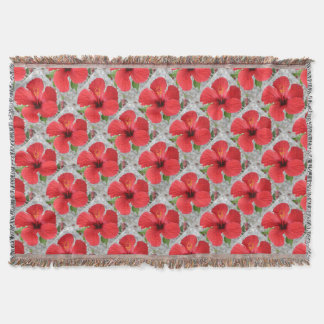 A Stunning Scarlet Hibiscus Tropical Flower Throw Blanket