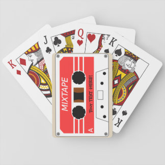 A stylised cassette tape. playing cards