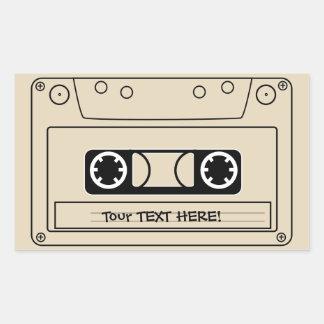 A stylised cassette tape. rectangular sticker