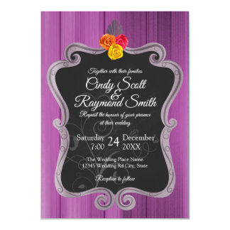 A stylish purple -Fancy border wedding invite