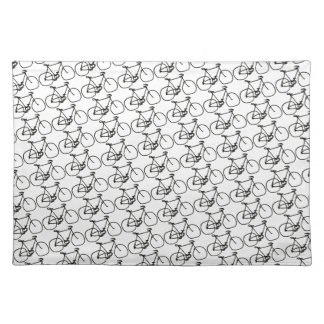 a stylized black bicycle placemat