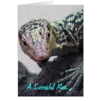 """A Successful Man. . ."" Lizard Photo Quotation Card"