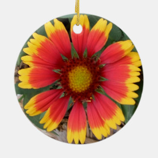 A Sunburst Gaillardia Pulchella in the Round 1 Ceramic Ornament