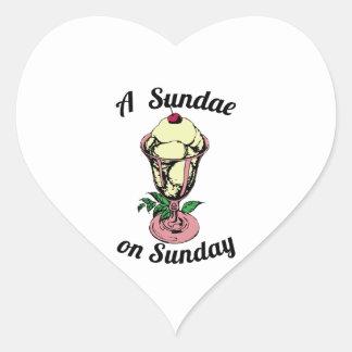 A Sundae on Sunday Heart Stickers