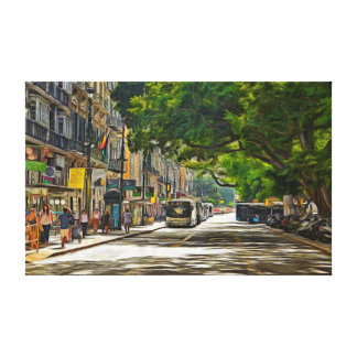 A sunny day in a shady street canvas print