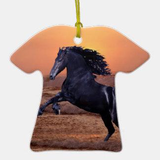 A sunset ocean horse christmas ornament