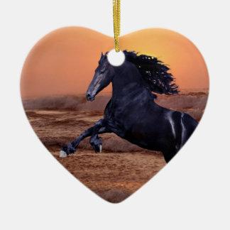 A sunset ocean horse christmas ornaments