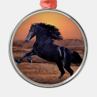 A sunset ocean horse christmas tree ornaments
