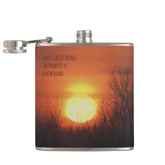 A Sunset, Trees & an Orange Sky Hip Flask