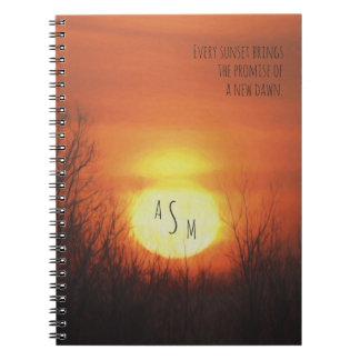 A Sunset, Trees & an Orange Sky Notebooks