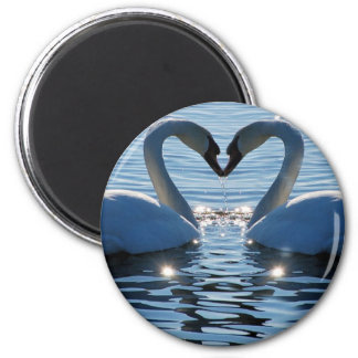 A Swan Heart Kiss, Reflections of Love 6 Cm Round Magnet