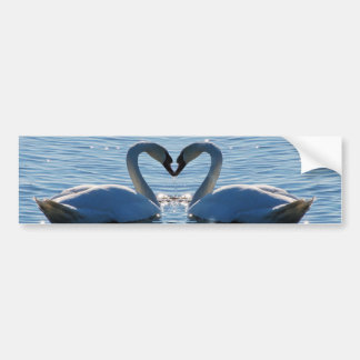 A Swan Heart Kiss, Reflections of Love Car Bumper Sticker