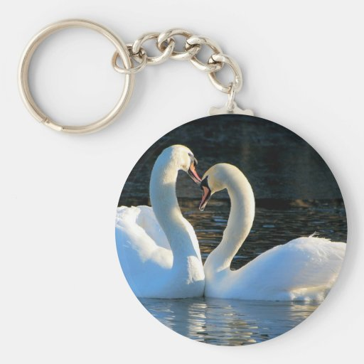 A Swan Heart Kiss, Reflections of Love Keychain