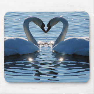 A Swan Heart Kiss, Reflections of Love Mouse Pad