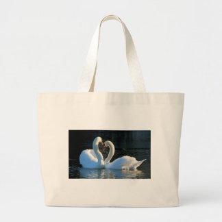 A Swan Heart Kiss, Reflections of Love Jumbo Tote Bag