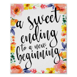 A Sweet Ending 8x10 Floral Watercolor Favors Sign