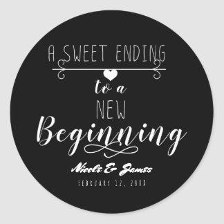 A Sweet Ending to a New Beginning Wedding Favour Round Sticker