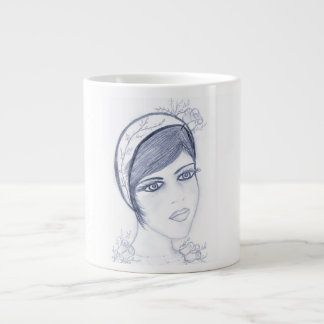 A Sweet Flapper in Dusky Blue Large Coffee Mug