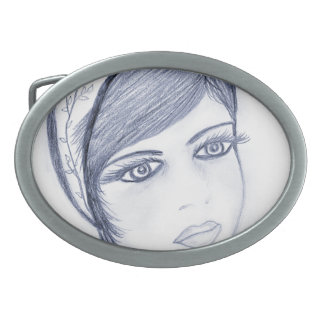 A Sweet Flapper in Dusky Blue Oval Belt Buckle