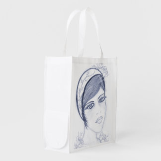 A Sweet Flapper in Dusky Blue Reusable Grocery Bag