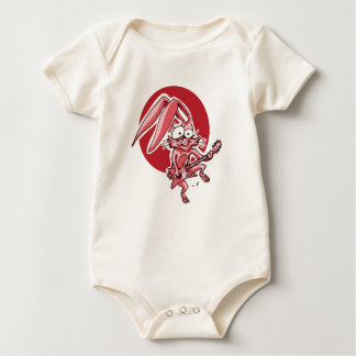 a sweet rabbit playing guitar funny cartoon baby bodysuit
