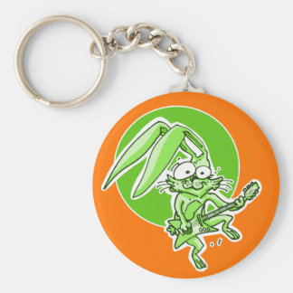 a sweet rabbit playing guitar funny cartoon key ring