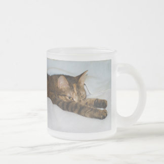 A Tabby Cat Stretching Felis Silvestris Catus Frosted Glass Mug
