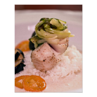 A tasty shot of fish with rice print